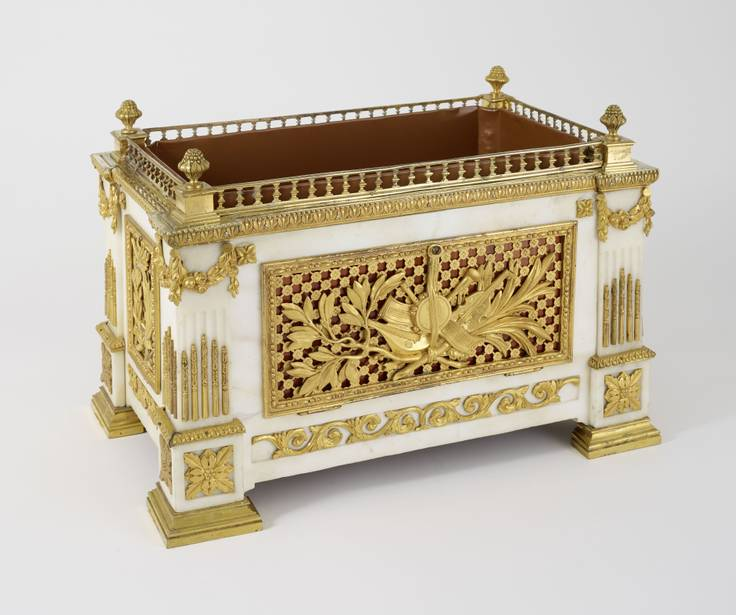 RARE EMPIRE MARBLE BRASS BRONZE GILDED BOX WITH GOLDEN MUSICAL INSTRUMENTS...